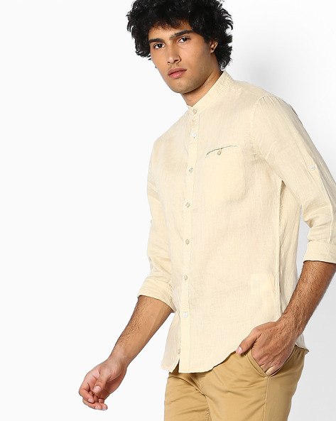 Pure Linen Shirt With Mandarin Collar By Celio ( Assorted )
