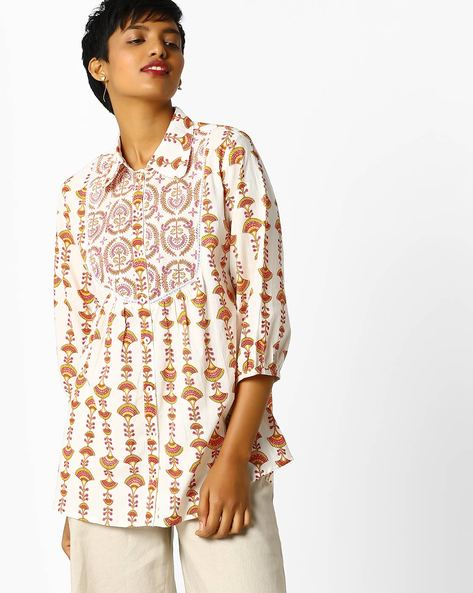 Printed Tunic With Button Placket By Omya ( Peach )