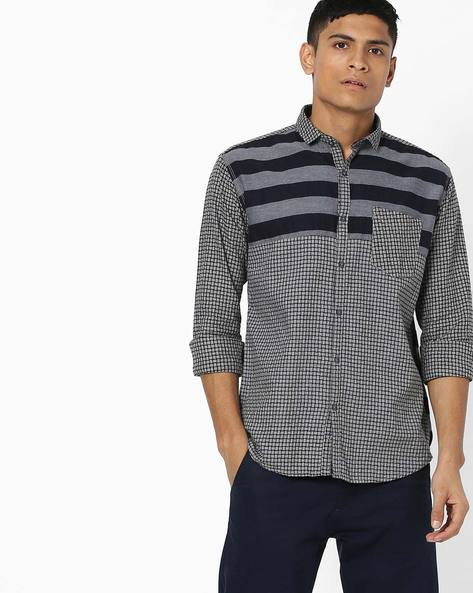 Checked Shirt With Patch Pocket By Campus Sutra ( Grey )