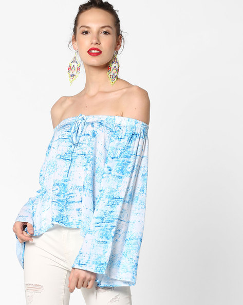 Off-Shoulder Top With Tie-Up By Project Eve IW Fusion ( Turq )