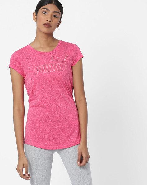Slub Knit Crew-Neck T-shirt By Puma ( Rose )
