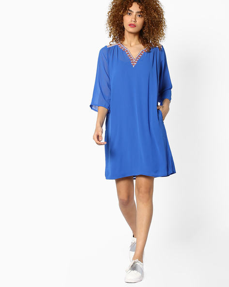 Shift Dress With Embroidery By Global Desi ( Blue )