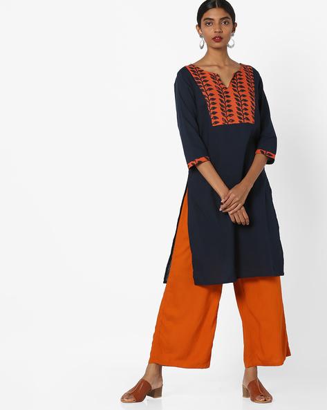 Cotton Tunic With Printed Yoke By AJIO ( Indigo )