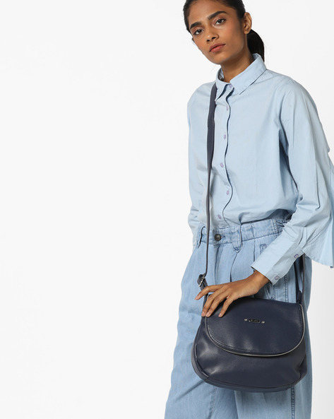 Luba Sling Bag With Zip Accent By Lavie ( Navy )