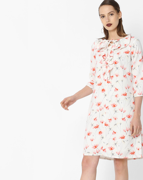 Floral Print Dress With Ruffled Detail By Project Eve WW Work ( Offwhite )