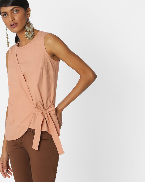 Layered Sleeveless Top With Tie-Up By Vero Moda ( Brown )