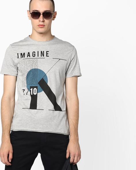 Graphic Print Crew-Neck T-shirt By AJIO ( Greymelange )