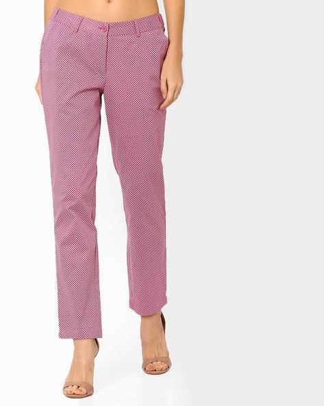 Printed Flat-Front Trousers By AJIO ( Pink )
