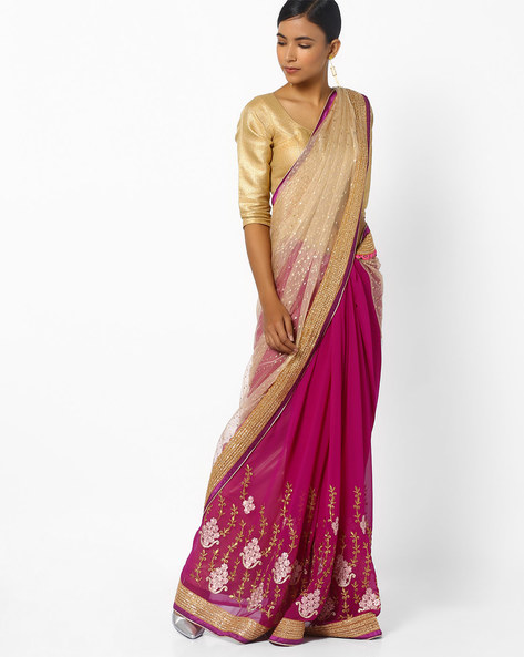 Floral Print Half & Half Saree With Embroidery By CHHABRA 555 ( Pink )