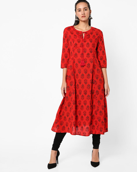 Floral Print Flared Kurta With Tie-Up By AJIO ( Red )