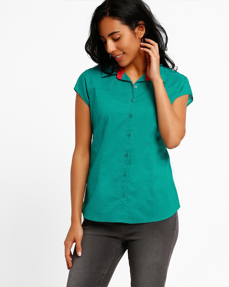 Slim Fit Shirt With Short Sleeves By DNM X ( Turquoise )