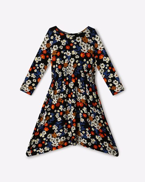 Floral Print Knitted A-line Dress By RIO GIRLS ( Black )