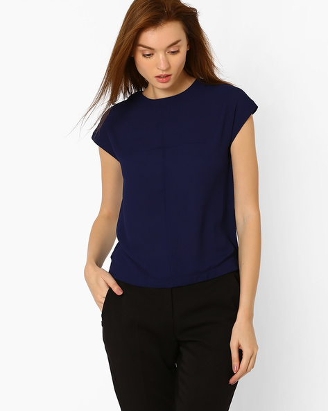 Top With Cap Sleeves By CHEMISTRY ( Blue )
