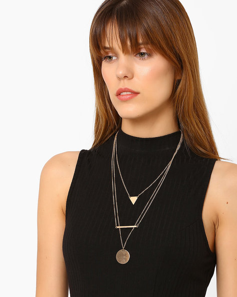 Mutlistrand Metal Necklace By Ayesha ( Gold )