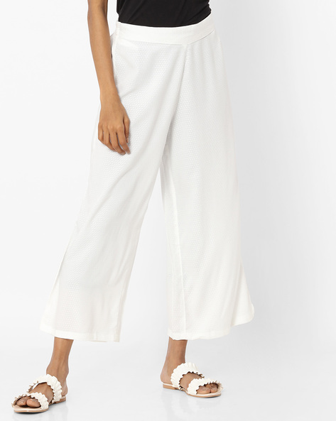 Mid-Rise Palazzos With Semi-Elasticated Waist By AVAASA MIX N' MATCH ( White )