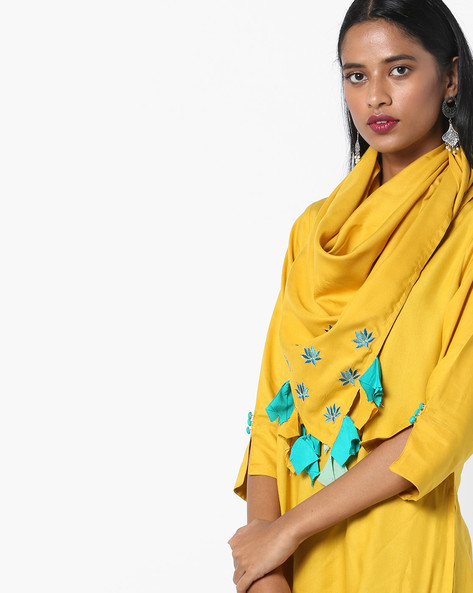 Dupatta With Placement Embroidery By AJIO ( Olive )