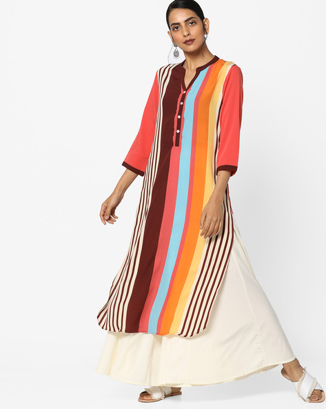 Striped Kurta With Mandarin Collar By FUSION BEATS ( Rust )