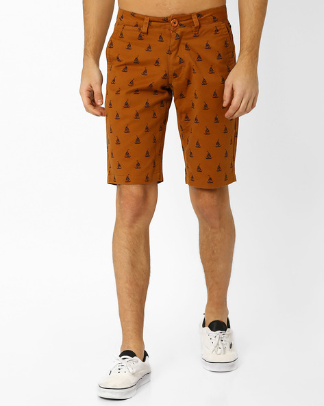 Printed Slim Fit Shorts By The Indian Garage Co ( Brown )