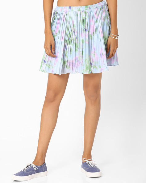 Pleated Mini Skirt By RIDRESS ( Multi )