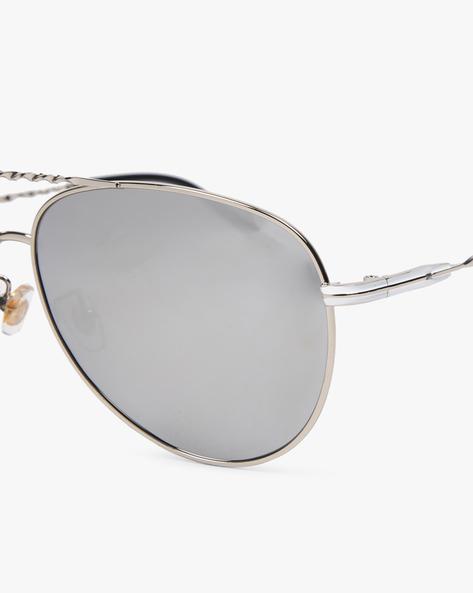 Mirrored Aviator Sunglasses By CLARK N PALMER ( Silver )