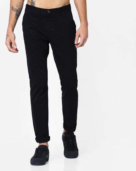 Slim Fit Mid-Rise Chinos By NETPLAY ( Black )