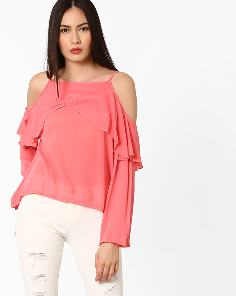 Cold-Shoulder Top With Ruffles By Ginger By Lifestyle ( Pink )