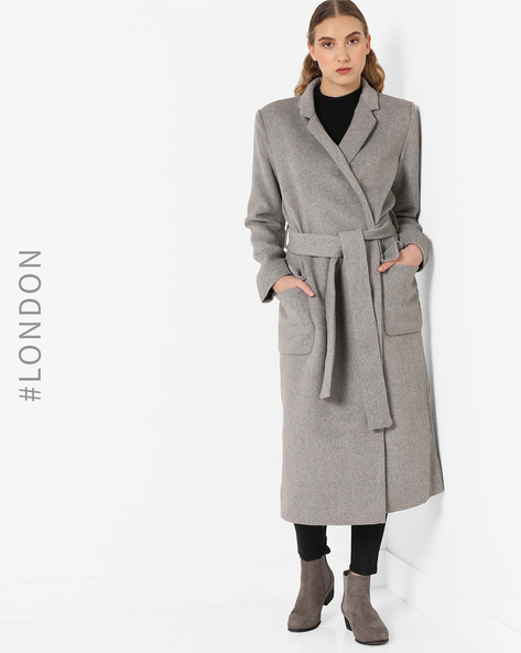 Trench Coat With Notched Collar By Glamorous ( Lightgrey )