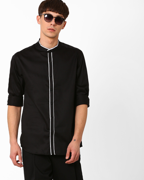 Shirt With Band Collar By British Club ( Black )