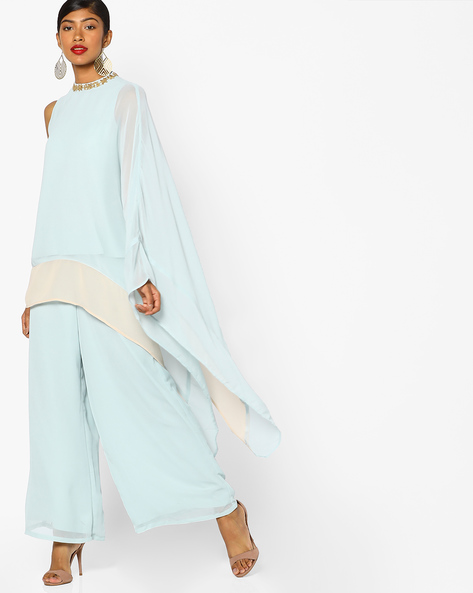 One-Sleeve Tunic With Asymmetric Hem By AJIO ( Lightblue )