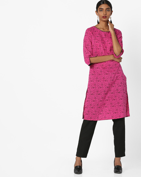 Floral Print Tunic With Slit Sleeve Hems By AJIO ( Fuchsia )