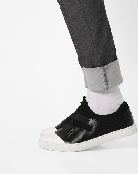 Panelled Sneakers With Elasticated Gussets By AJIO ( Black )