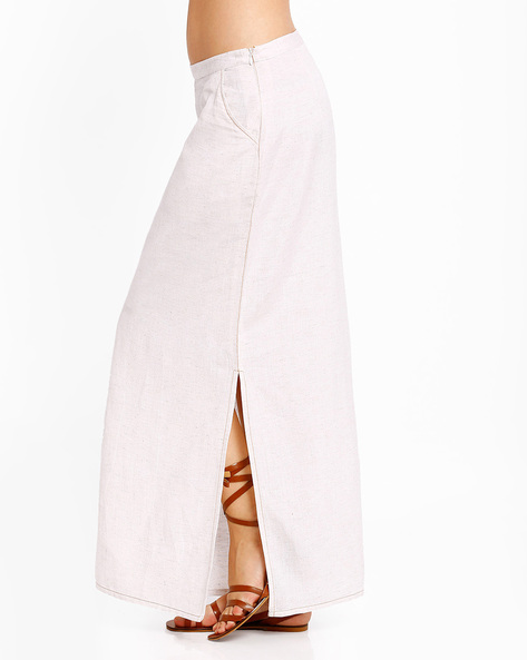 Maxi Skirt With Side Slits By AJIO ( White )