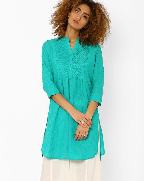 Straight Kurta With Button Placket By Juniper ( Teal )