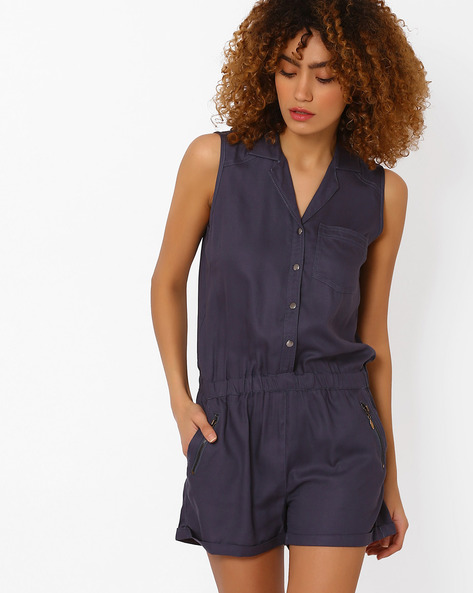 Sleeveless Playsuit With Patch Pocket By DNM X ( Navy )