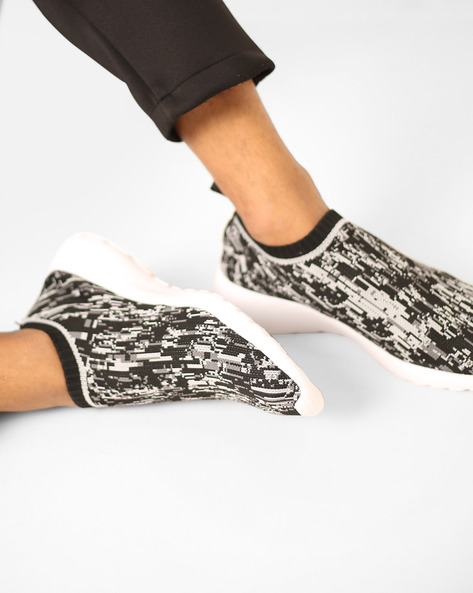 Abstract Print Slip-On Shoes By AJIO ( Black )