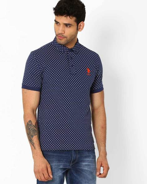 Star Print Slim Fit Polo T-Shirt By US POLO ( Blue )