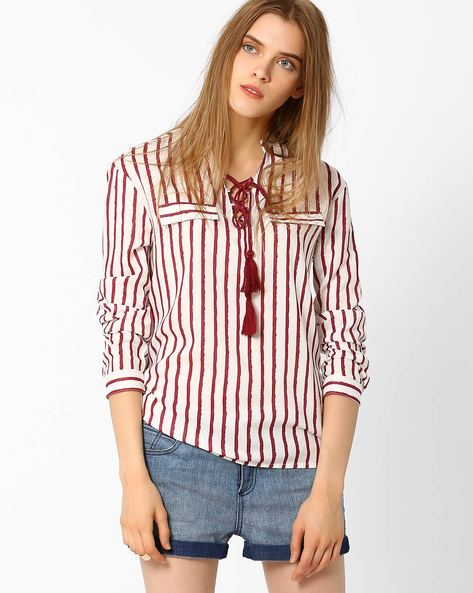 Striped Top With Lace-Up By FIG ( Maroonburg )