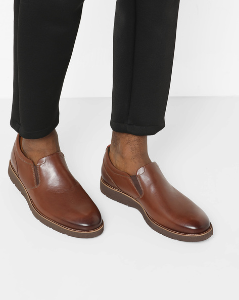 Folcroft Step Genuine Leather Slip-On Shoes By CLARKS ( Tan )