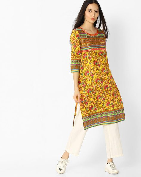 Floral Print Straight Kurta By Jaipur Kurti ( Yellow )