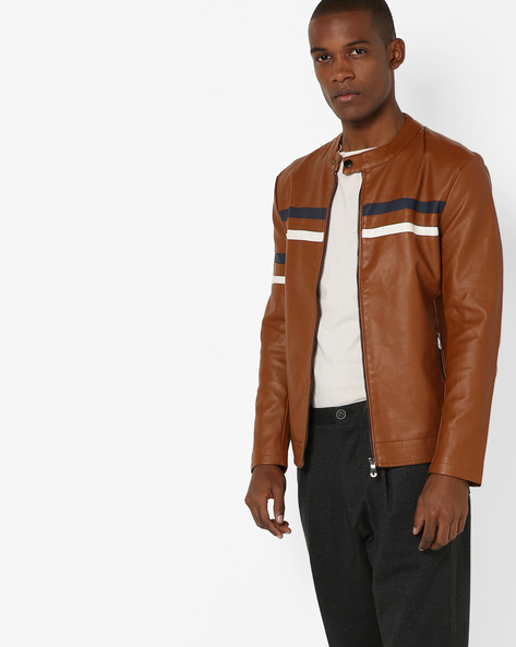 Biker Jacket With Front Zipper By The Indian Garage Co ( Tan )