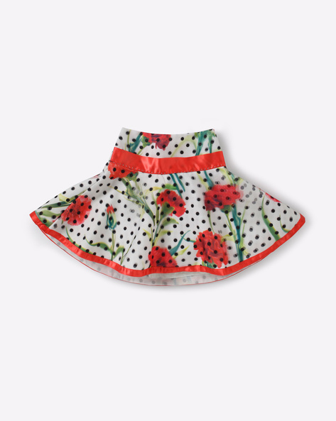 Knee-Length Polka-Dot Skirt By Cutecumber Exclusive For Ajio ( White )