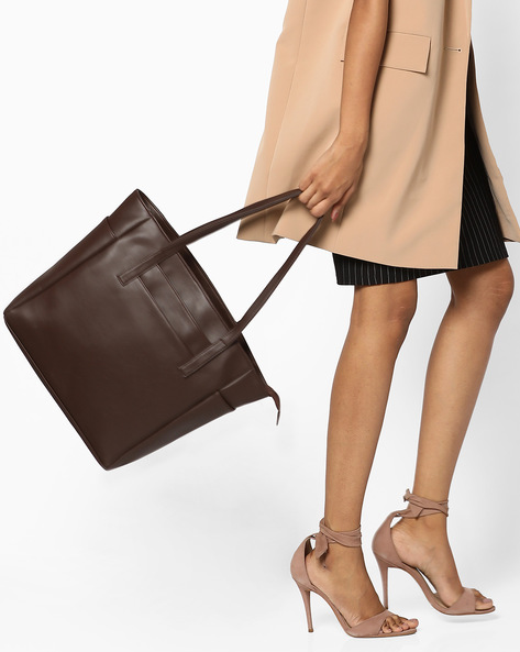 Faux-Leather Tote Bag By AJIO ( Brown )