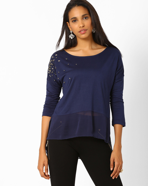Embellished High-Low Top By AJIO ( Navyblue )