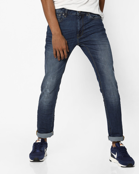 Mid-Washed Distressed Skinny Jeans By VOI JEANS ( Blue )