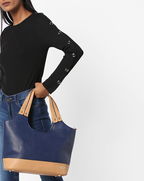 Laser-Cut Tote Bag By E2O ( Navy ) - 460160605001