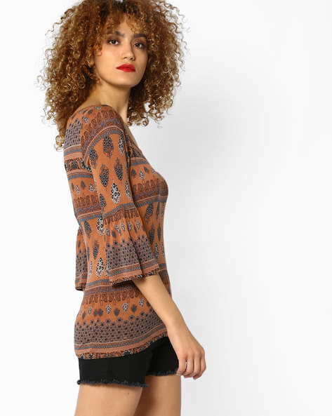 Printed Top With Bell Sleeves By CODE By Lifestyle ( Tan )