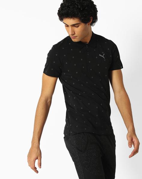 All-Over Print Polo T-shirt By Puma ( Black )