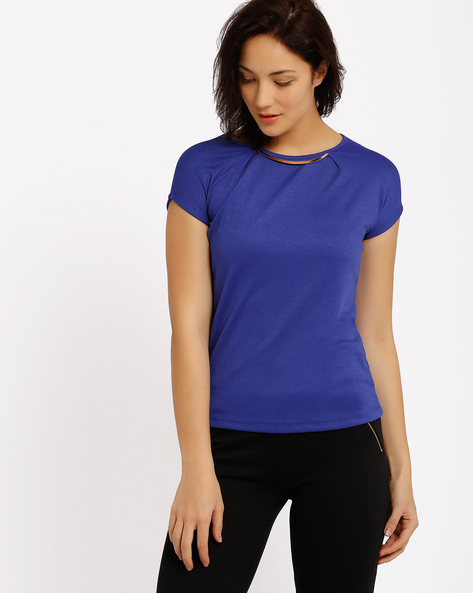 Top With Metallic Detail By Annabelle By Pantaloons ( Navyblue )