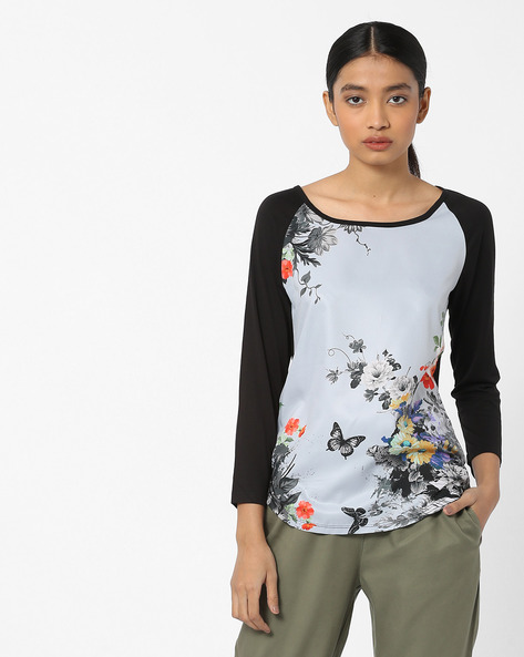 Floral Print Top With Raglan Sleeves By FIG ( Black )