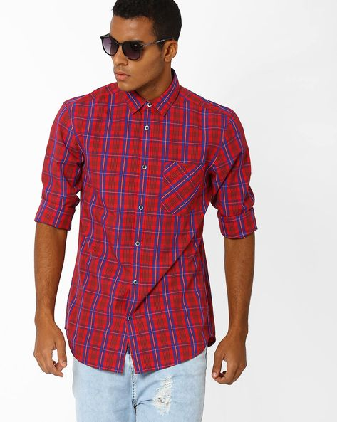 Slim Fit Checked Shirt By Jack & Jones ( Red )
